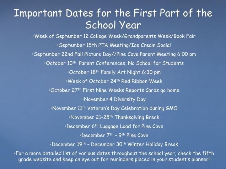 Important Dates for the First Part of the School Year