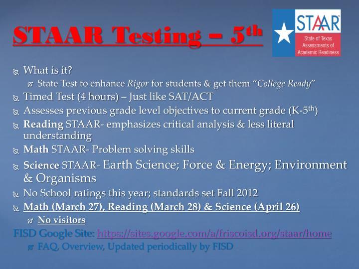 STAAR Testing – 5