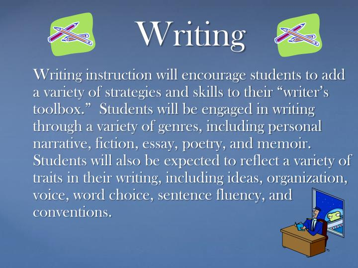 "Writing instruction will encourage students to add a variety of strategies and skills to their ""writer's toolbox.""  Students will be engaged in writing through a variety of genres, including personal narrative, fiction, essay, poetry, and memoir.  Students will also be expected to reflect a variety of traits in their writing, including ideas, organization, voice, word choice, sentence fluency, and conventions."