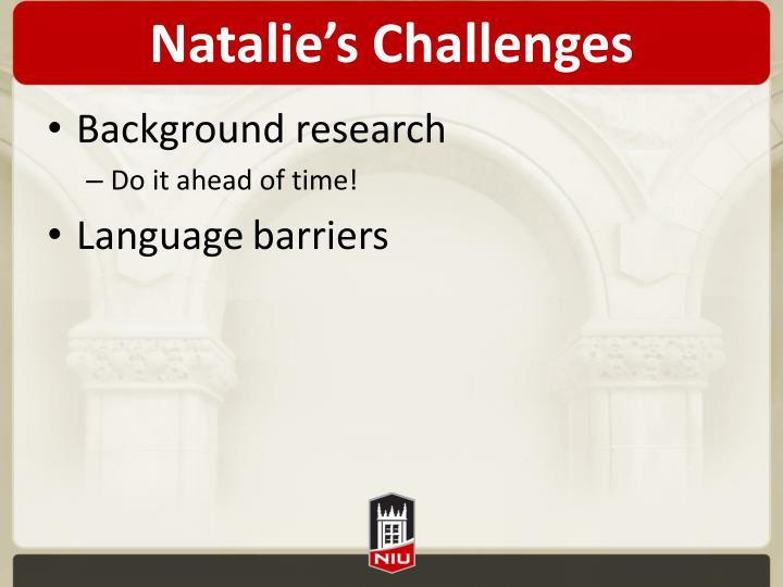 Natalie's Challenges