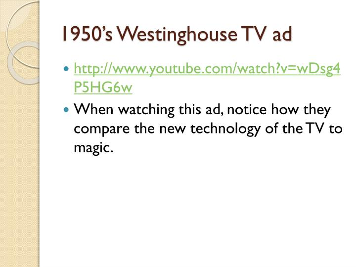 1950's Westinghouse TV ad