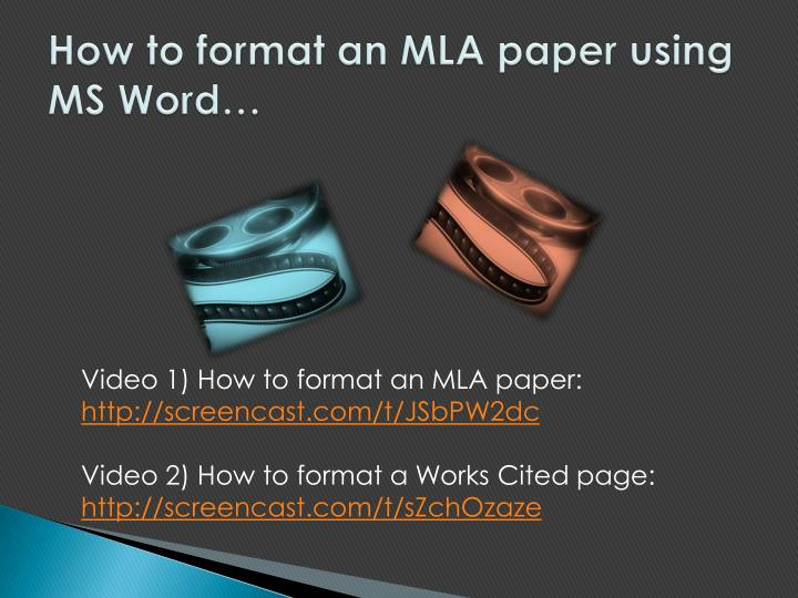 How to format an MLA paper using MS Word…