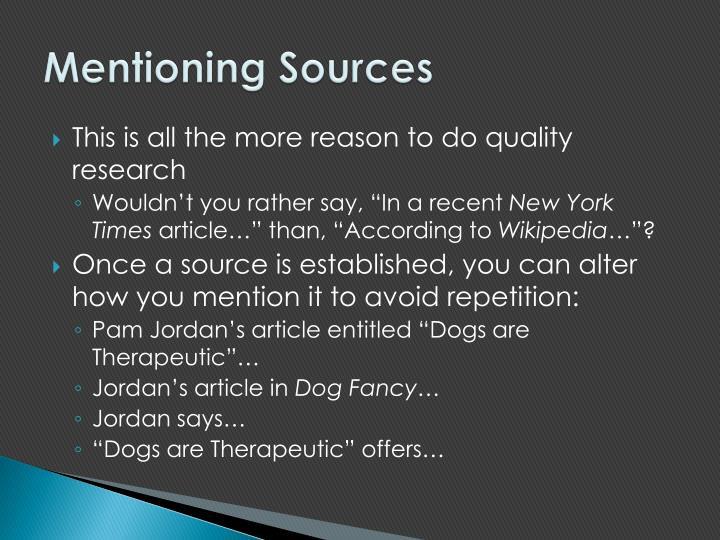 Mentioning Sources
