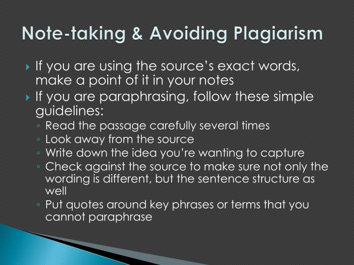 Note-taking & Avoiding Plagiarism