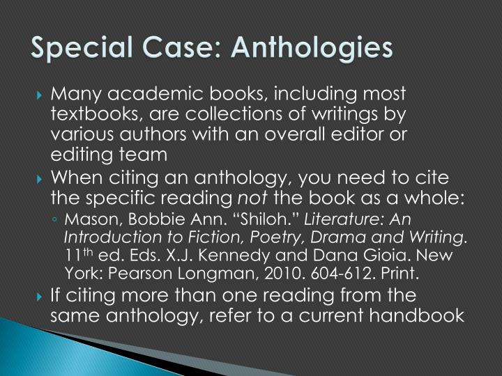 Special Case: Anthologies