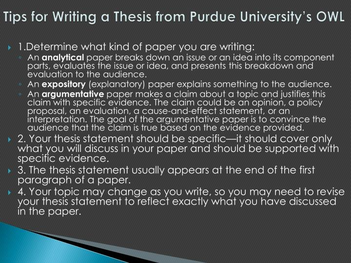 Tips for Writing a Thesis from Purdue University's OWL