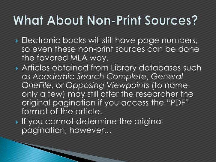What About Non-Print Sources?