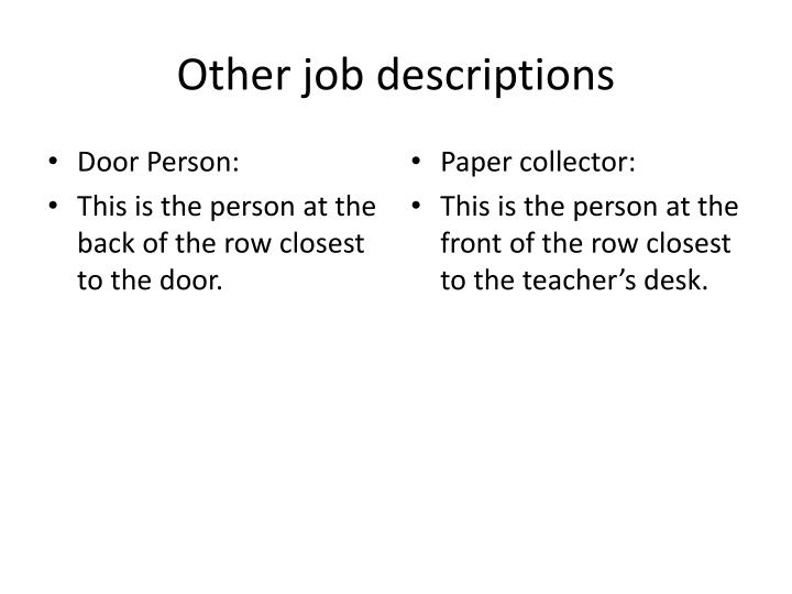Other job descriptions