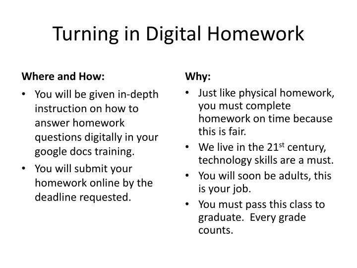 Turning in Digital Homework