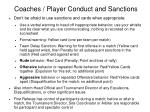 coaches player conduct and sanctions