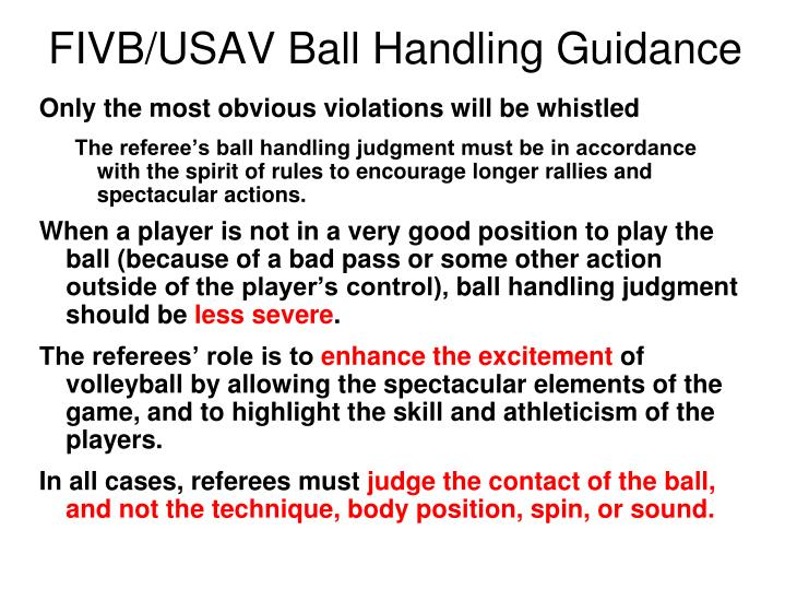 FIVB/USAV Ball Handling Guidance