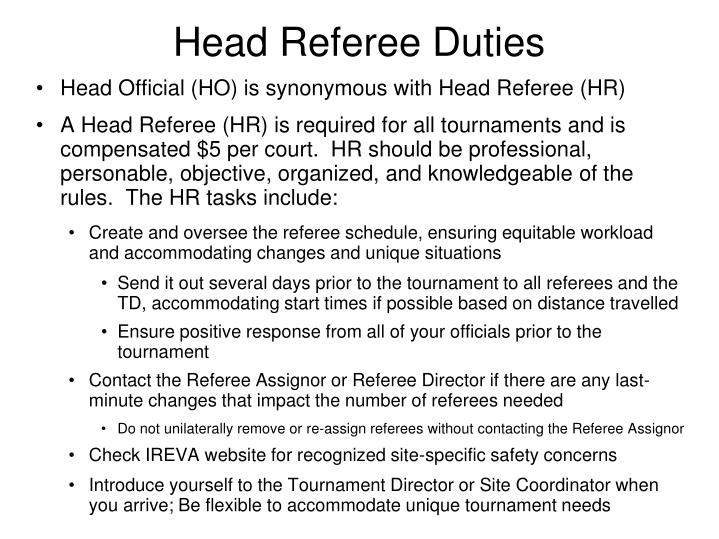 Head Referee Duties