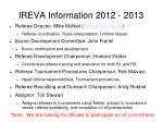 ireva information 2012 2013