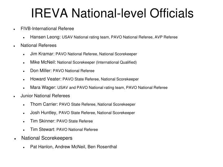 IREVA National-level Officials