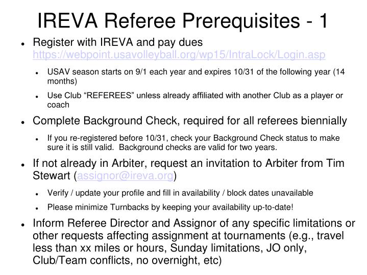 Ireva referee prerequisites 1