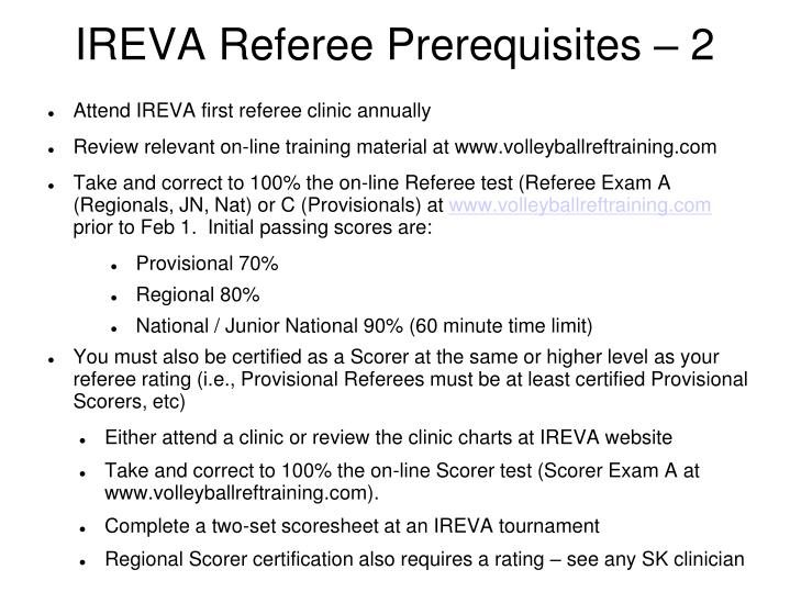 Ireva referee prerequisites 2
