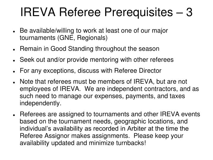 IREVA Referee Prerequisites – 3