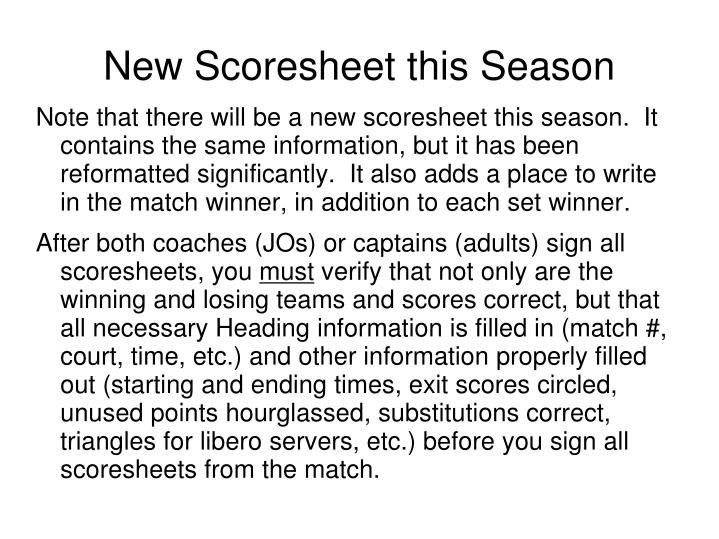 New Scoresheet this Season