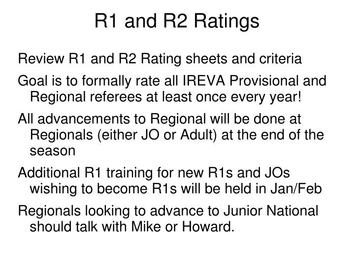 R1 and R2 Ratings