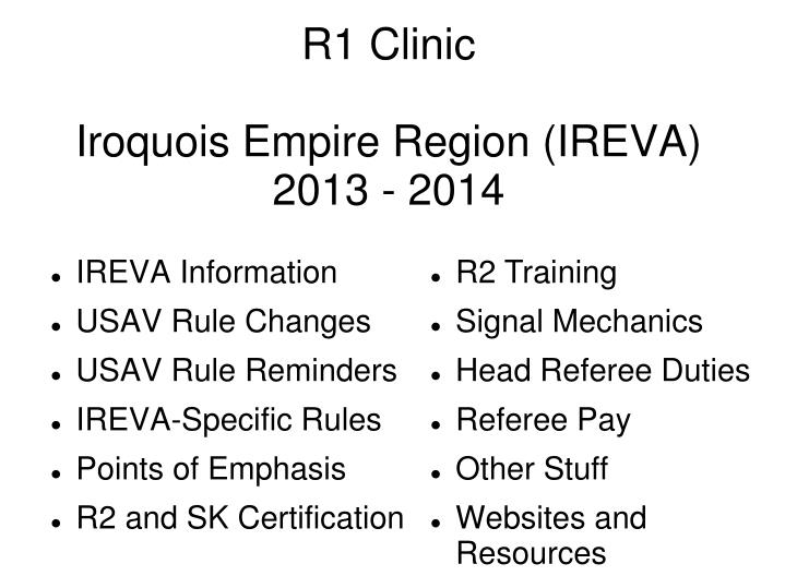 R1 clinic iroquois empire region ireva 2013 2014