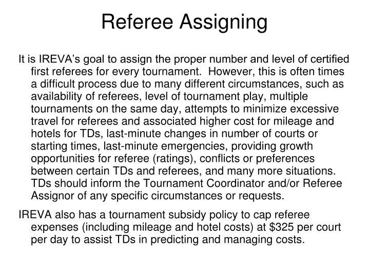 Referee Assigning