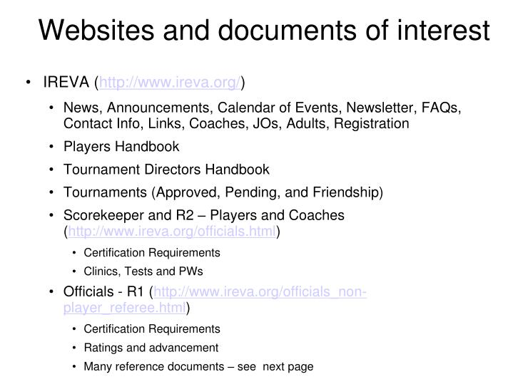 Websites and documents of interest
