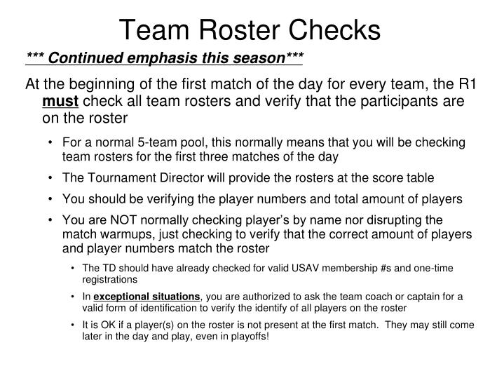 Team Roster Checks