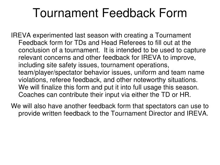 Tournament Feedback Form