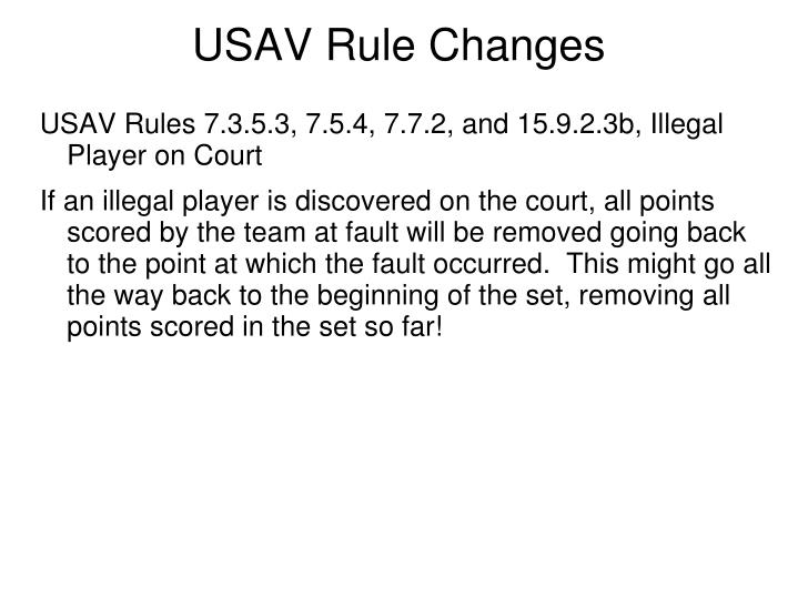 USAV Rule Changes