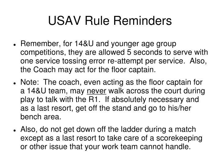 USAV Rule Reminders