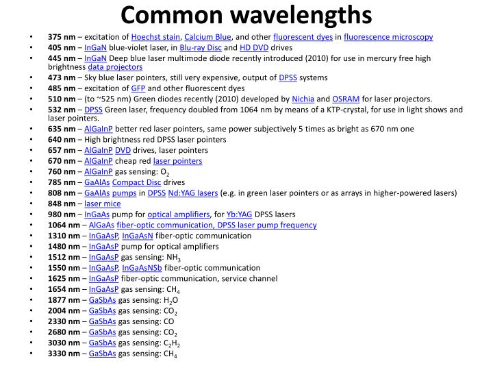 Common wavelengths