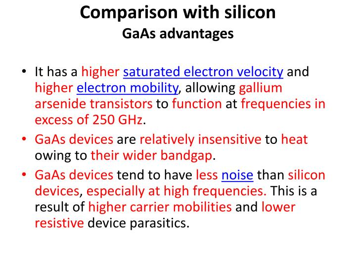 Comparison with silicon