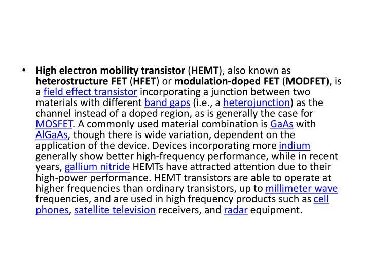 High electron mobility transistor