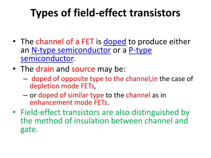 Types of field-effect transistors