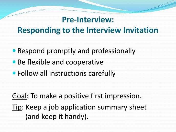 Pre-Interview: