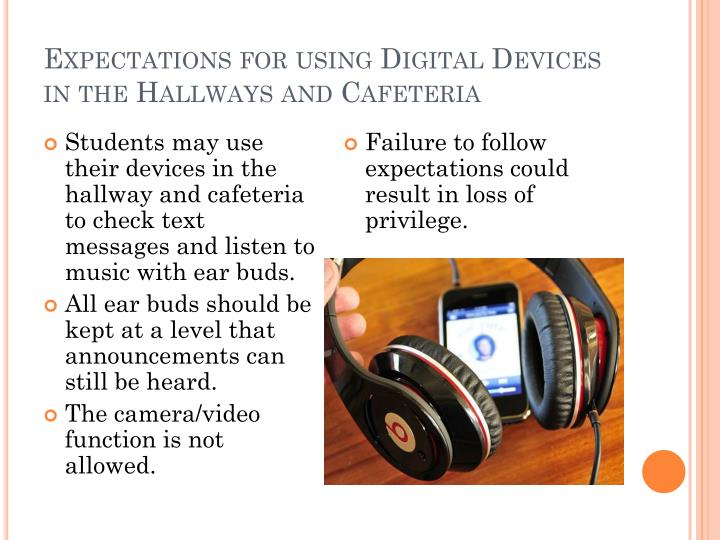 Expectations for using Digital Devices in the Hallways and Cafeteria