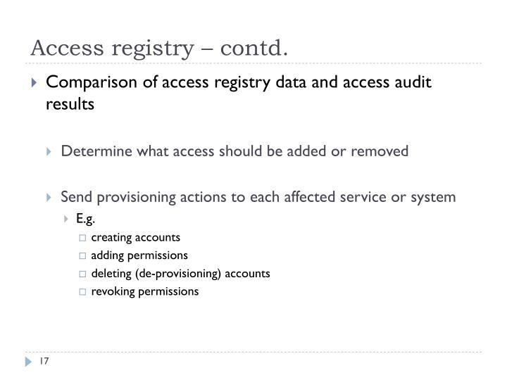 Access registry – contd.