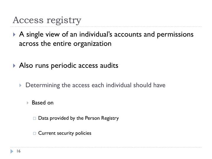 Access registry