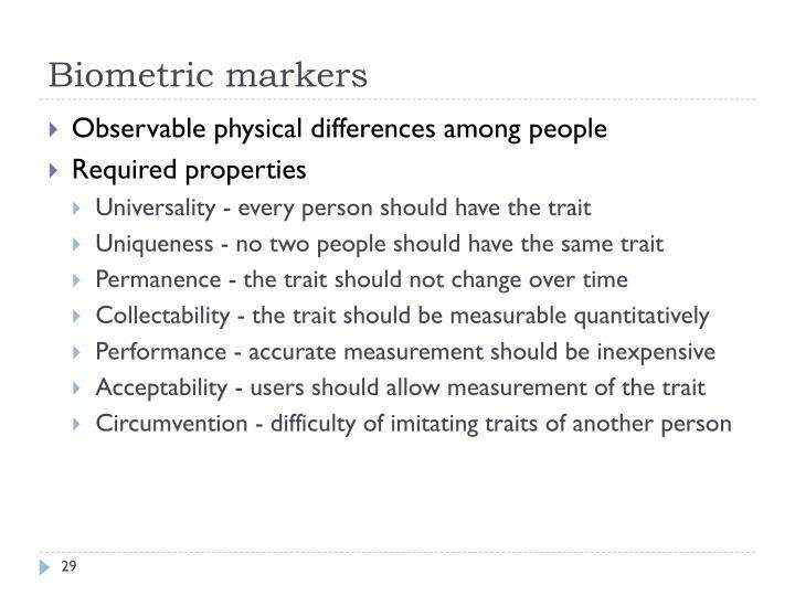 Biometric markers