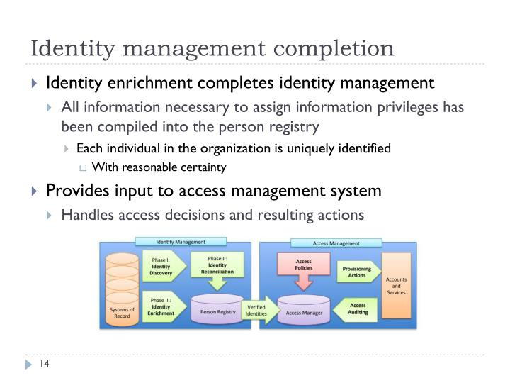 Identity management completion