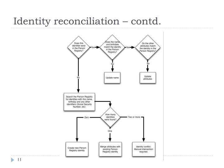 Identity reconciliation – contd.