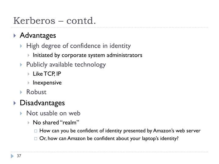 Kerberos – contd.
