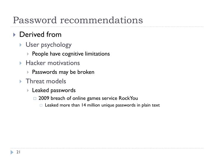 Password recommendations