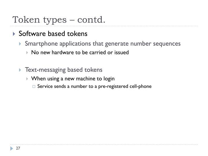 Token types – contd.