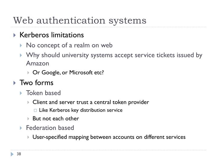 Web authentication systems
