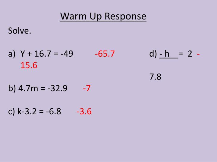 Warm Up Response