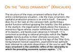 on the mass ornament kracauer