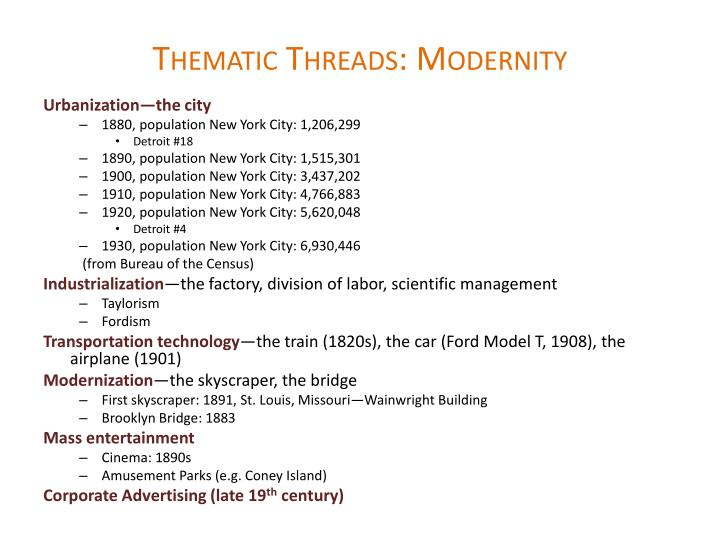 Thematic threads modernity