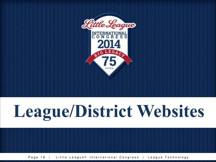 League/District Websites