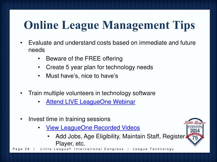 Online League Management Tips
